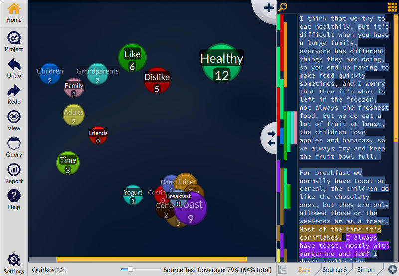 The Quirkos Canvas view of themes and topics